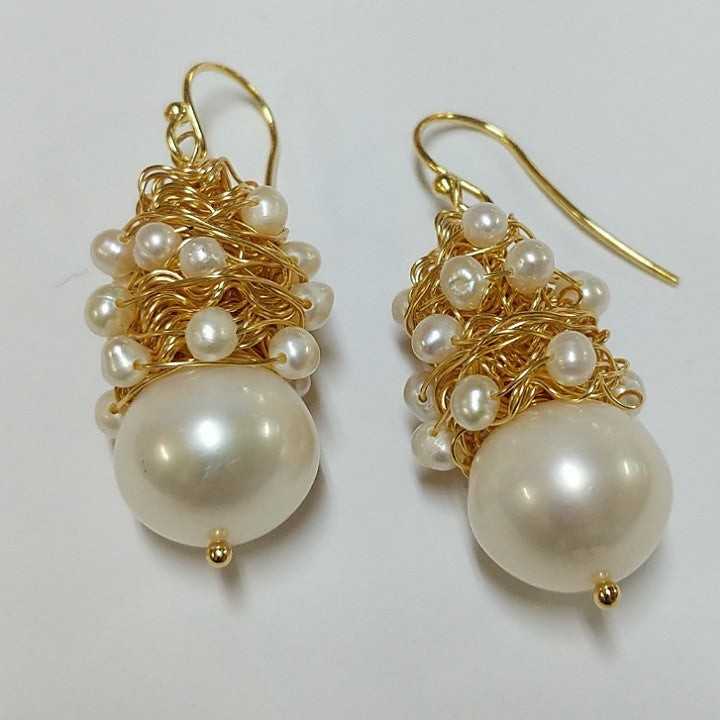 MOKO EARRINGS HANDCRAFTED GOLD WIRE ENTWINING PEARLS