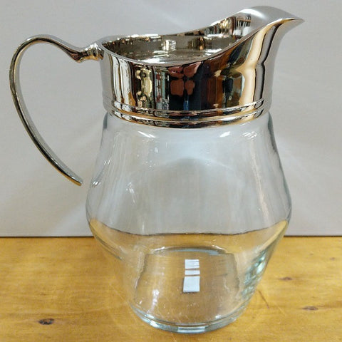 GLASS JUG WITH NICKEL TRIM
