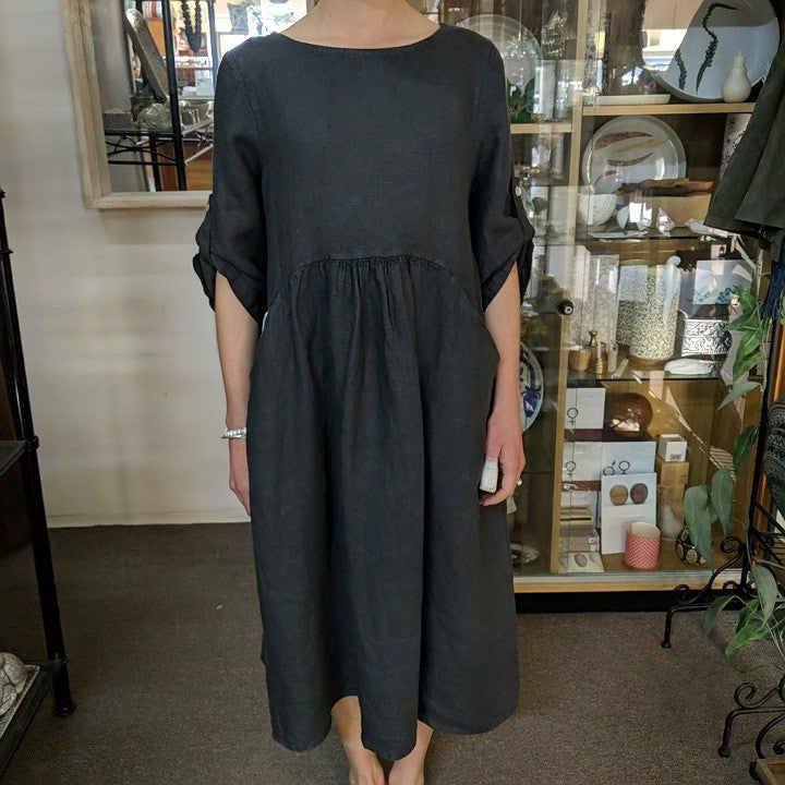 PUROLINO LINEN DRESS CHARCOAL 3/4 SLEAVE