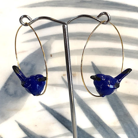 BLUE BIRD HOOP EARRING