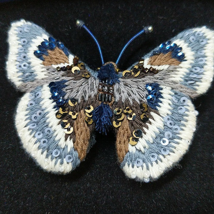 HAND EMBROIDERED SKIPPER BUTTERFLY BROOCH