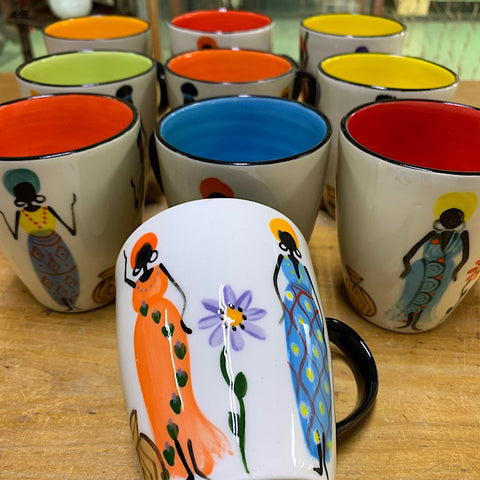 CERAMIC MUGS PAINTED WITH AFRICAN WOMEN
