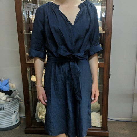PUROLINO LINEN DRESS MEDIUM SIZE NAVY