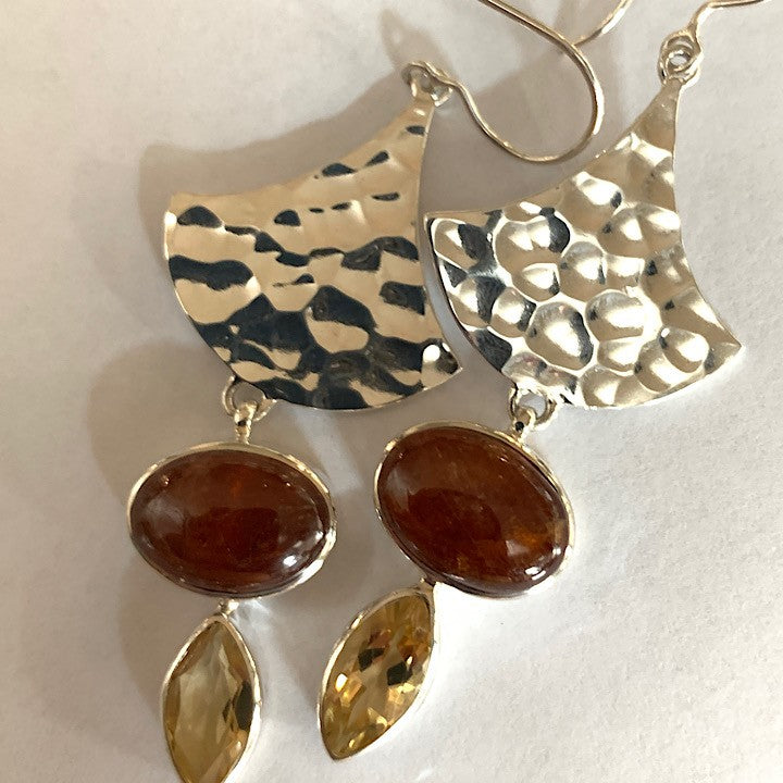 CITRINE AND HESSONITE GARNET EARRINGS