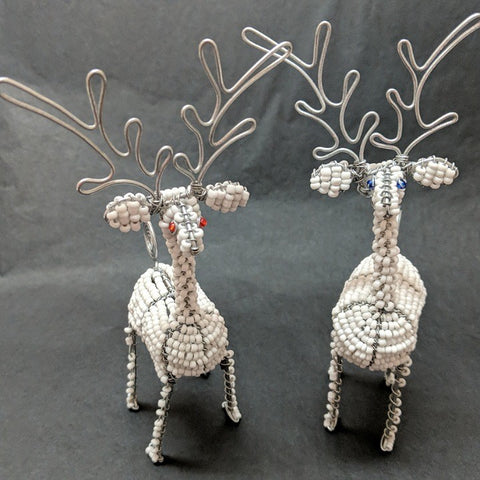 BEADED REINDEER WHITE