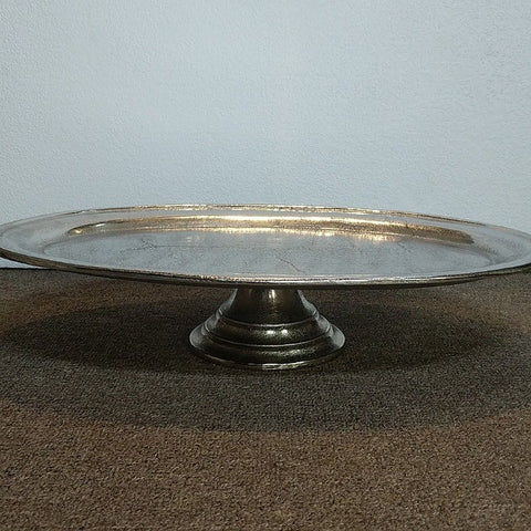 OVAL PEWTER FINISHED TRAY ON STAND