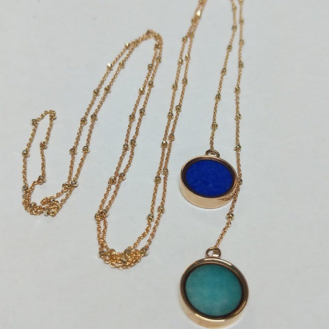 LARIAT OF LAPIS LAZULI AND AMAZONITE NECKLACE