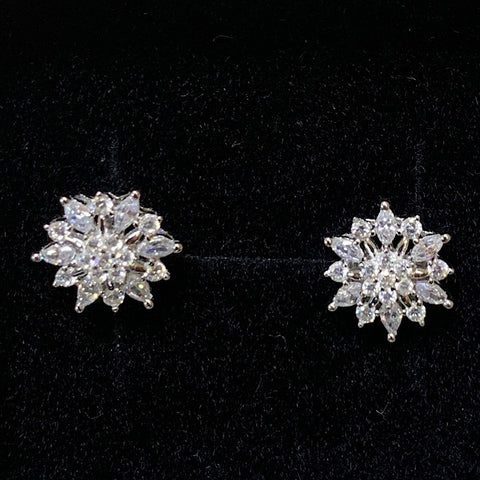 EARRINGS CUBIC ZIRCONIA FLOWER STUD