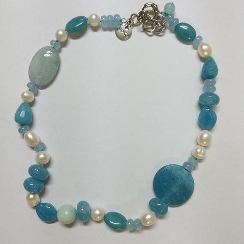 MOKO NECKLACE AMAZONITE JADE PEARLS