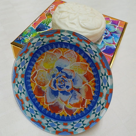 JASMIN SCENTED SOAP ON GLASS DISH