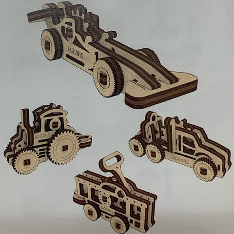 FOUR WOODEN MODELS TRACTOR RACING CAR TRUCK RAILCAR