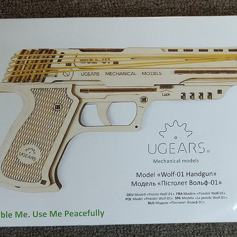 UGEARS MECHANICAL WOODEN HANDGUN