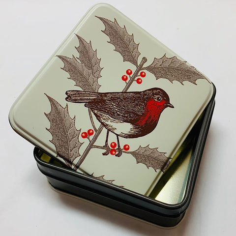SMALL SQUARE CHRISTMAS TIN WITH ROBIN AND HOLLY