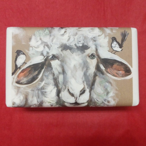 WOOLY SHEEP AND WILLY WAGTAILS SOAP WRAPPED IN AMANDA BROOKS ARTWORK