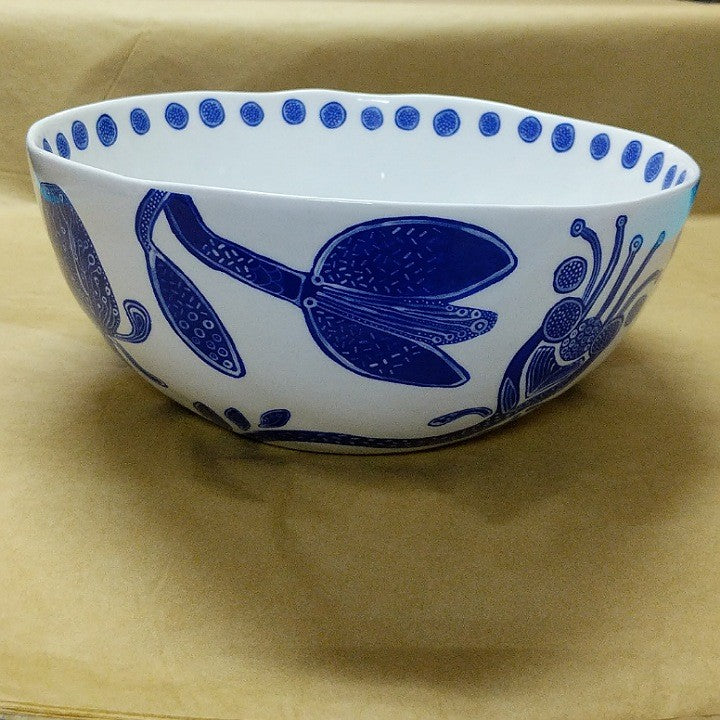 BOHEMIAN BLUE AND WHITE SALAD BOWL