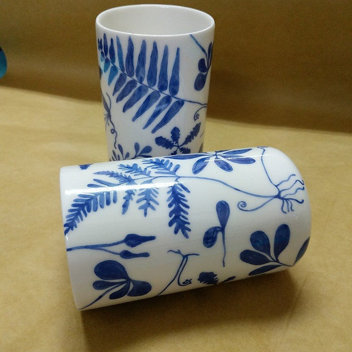 ANGUS AND CELESTE BLUE AND WHITE TUMBLERS SET TWO