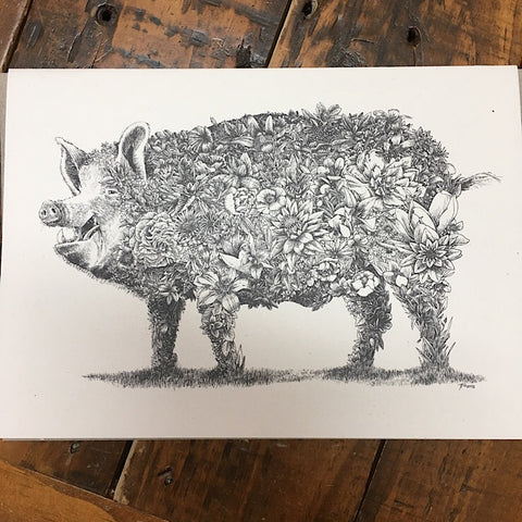 EDGAR ALAN PIG GREETING CARD
