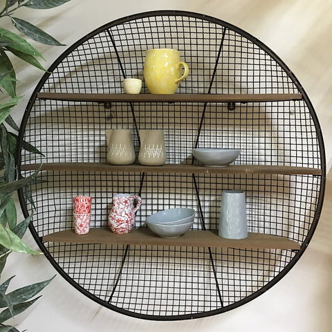 ROUND WIRE BASKET TIMBER SHELVES