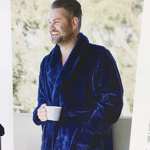 BATH ROBE SUPER SOFT WAFFLE NAVY MENS