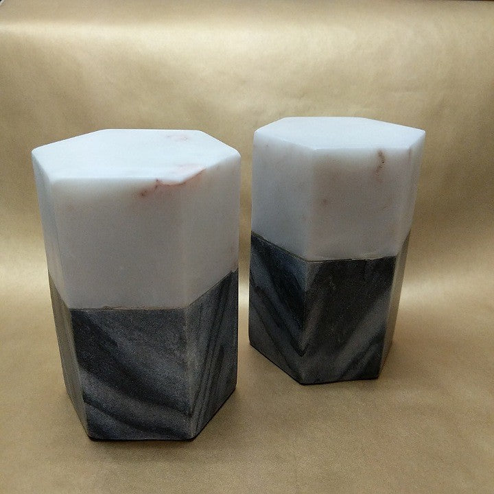 BLACK AND WHITE HEAVY MARBLE BOOK ENDS