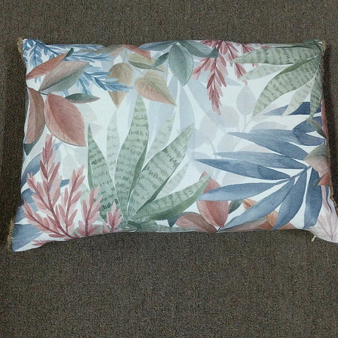 CUSHION 40 CM X 60 CM SUCCULENT PRINT HESSIAN TRIM