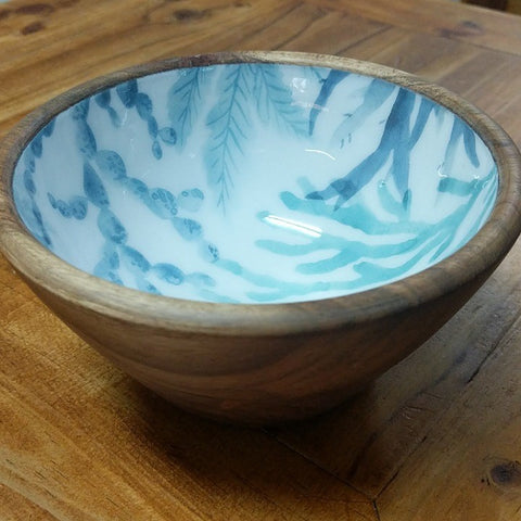 ROUND BOWL WOOD WITH BLUE PLANT ON WHITE