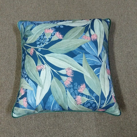 CUSHION SQUARE 50 CM NAVY WITH GUM LEAVES