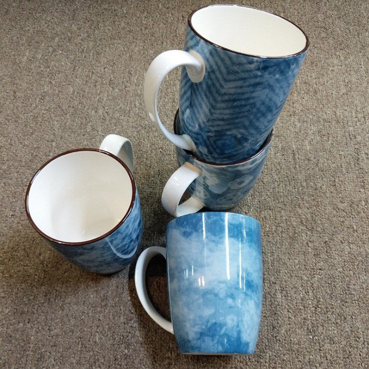 SET 4 BLUE WHITE COFFEE MUGS