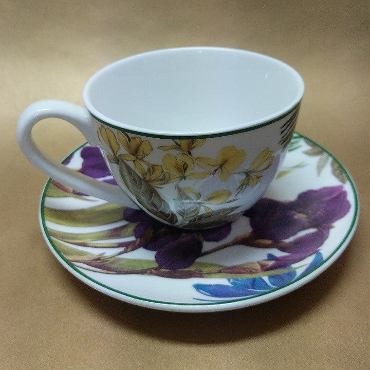BOTANICAL PRINT TEA CUP AND SAUCER