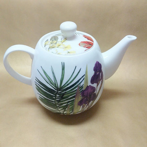 BOTANICAL PRINT CHINA TEAPOT