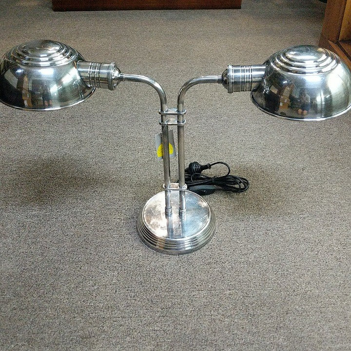 DOUBLE TABLE LAMP ANTIQUE SILVER