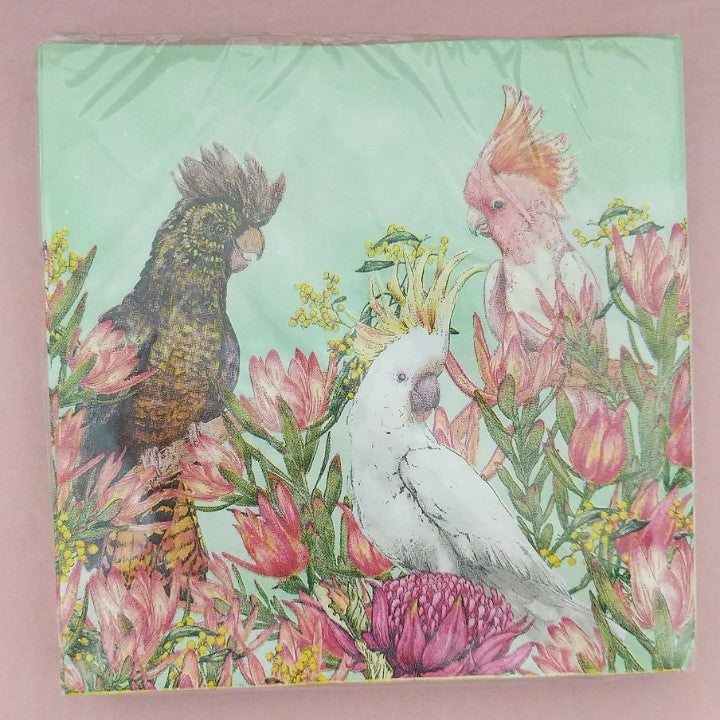 LALA LAND COCKATOOS OF AUSTRALIA PAPER NAPKIN SERVIETTES LILLY PERROTT