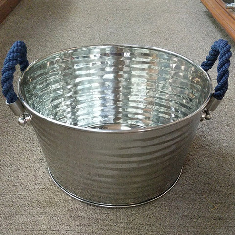 BLUE ROPE HANDLED STEEL WINE TUB