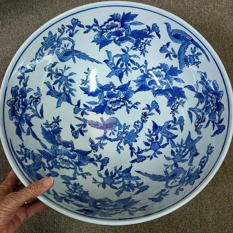 BLUE BIRDS ON WHITE CERAMIC BOWL LARGE