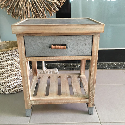 INDUSTRIAL STYLE LOW BEDSIDE TABLE