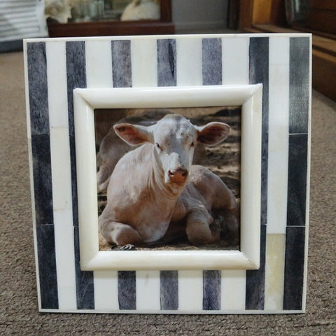 SQUARE 4 X 4 INCH PHOTO FRAME BONE