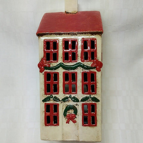 CERAMIC 3 STOREY CHRISTMAS HOUSE TEA LIGHT HOLDER