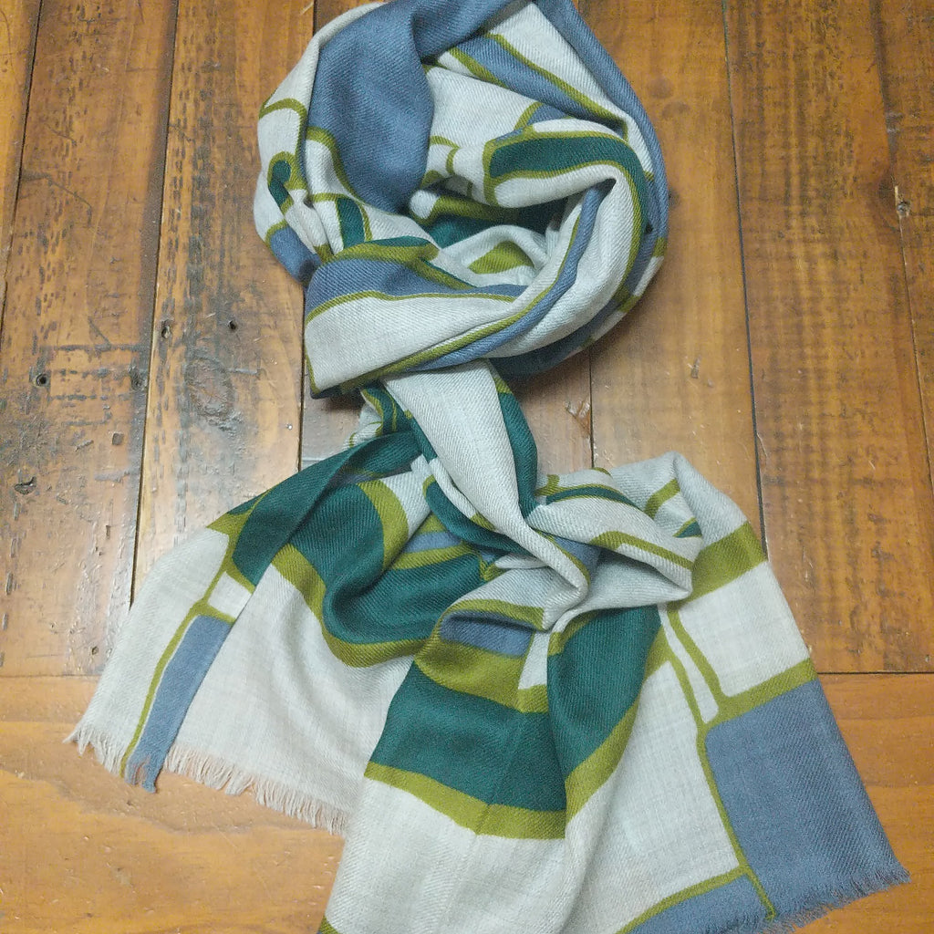SCARF MERINO WOOL TEAL RECTANGLES