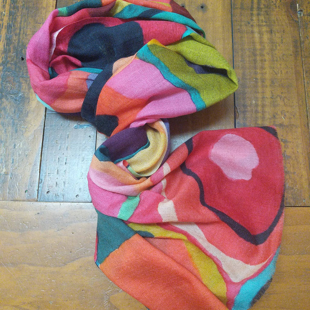 SCARF MERINO WOOL ABSTRACT PRINT COOL