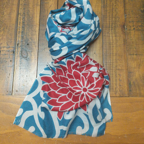 SCARF MERINO WOOL MARIGOLD TEAL RED