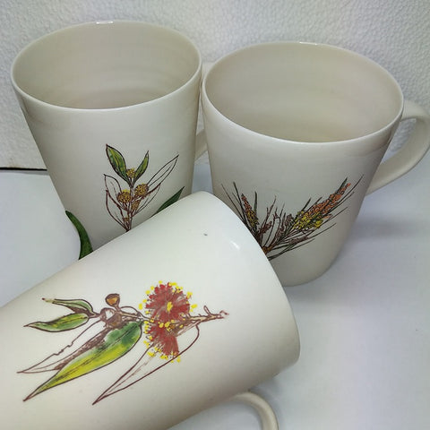 CERAMIC MUG WITH AUSTRALIAN WILDFLOWERS BOXED