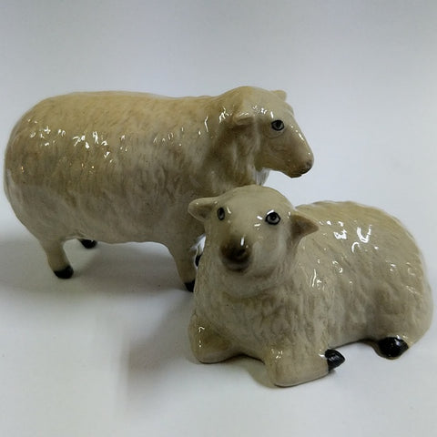 PORCELAIN FIGURINES TWO SHEEP STANDING & LYING