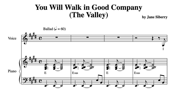 SHEET MUSIC 'The Valley'