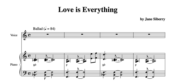 SHEET MUSIC 'Love Is Everything'