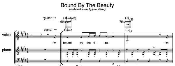 SHEET MUSIC 'Bound By the Beauty'