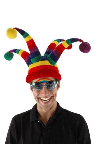 Rainbow Wacky Jester Plush Hat