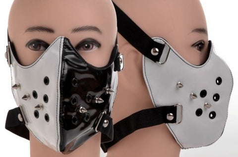 Black and White Spiked Vinyl Face Mask
