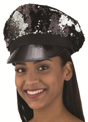 Black/Silver Flip Sequin Captain's Hat