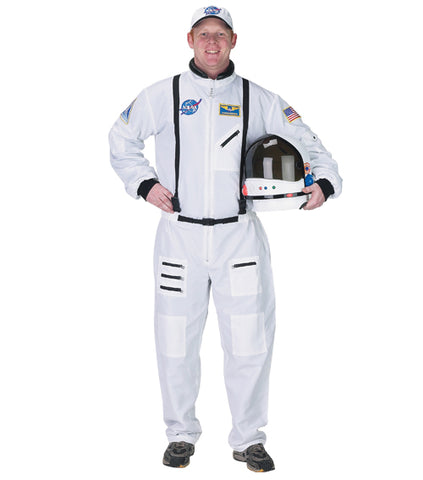 ASTRONAUT SUIT, W/ EMBROIDERED CAP (WHITE) ADULT