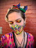 Birds of Paradise// Psychedelic Purple Pink and Rainbow Mermaid sequin Reversible Face Mask with Filter Pocket